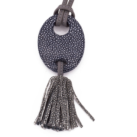 Adjustable shagreen and leather tassel pendant necklace-Ink