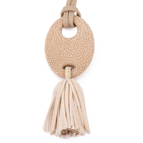 Adjustable shagreen and leather tassel pendant necklace-Latte