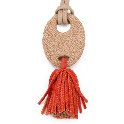 Adjustable shagreen and leather tassel pendant necklace-Orange