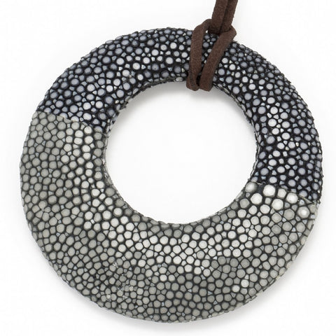 Shagreen Circle Pendant - Black, Gray