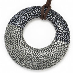 Shagreen Circle Pedant - Black/Gray