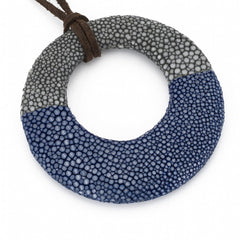 Shagreen Circle Pedant - Gray/Blue