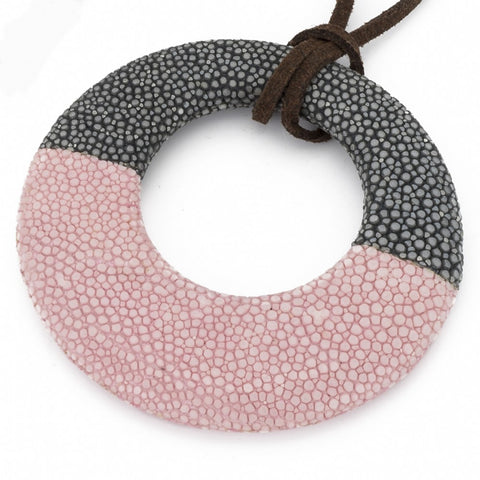 Shagreen Circle Pendant - Gray, Pink
