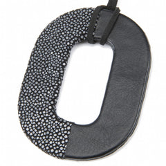 Oval Shagreen and Leather Pendant, Black-Black
