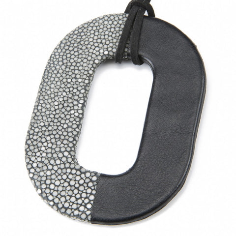 Oval Shagreen and Leather Pendant, Gray-Black