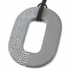 Oval Shagreen and Leather Pendant, Gray-Gray