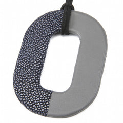 Oval Shagreen and Leather Pendant, Ink-Gray
