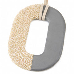 Oval Shagreen and Leather Pendant, Latte-Gray