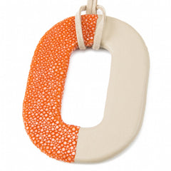 Oval Shagreen and Leather Pendant, Orange-Beige
