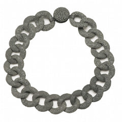 Genuine Shagreen Curb Link Necklace - Gray