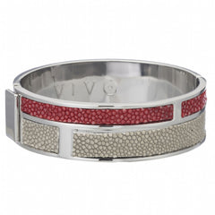 Hinged Bangle With 2 Color Genuine Shagreen Inlay-Cement, Scarlet