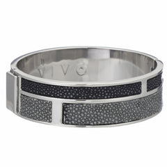 Hinged Bangle With 2 Color Genuine Shagreen Inlay-Gray, Black