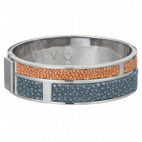 Hinged Bangle With 2 Color Genuine Shagreen Inlay-Niagara, Orange