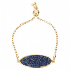 Box Chain Friendship Bracelet, Gold / navy