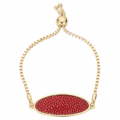 Box Chain Friendship Bracelet, Gold / scarlet