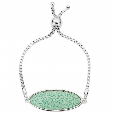 Box Chain Friendship Bracelet, Silver /aqua
