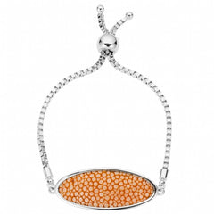 Box Chain Friendship Bracelet, Silver / orange