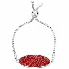 Box Chain Friendship Bracelet, Silver / scarlet