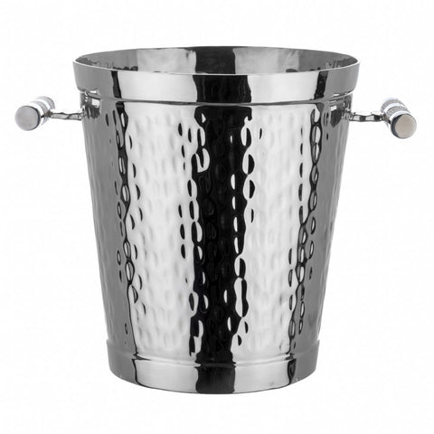 Hammered Stainless Steel Wine Bucket With Inlay Handles