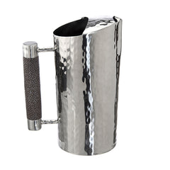 Hammered Stainless Pitcher With Inlay 9 IN