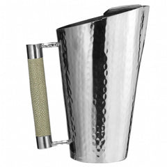 Tapered Hammered Stainless Pitcher With Inlay 10 IN