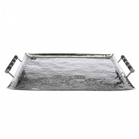 Rectangular Hammered Stainless Ottoman Tray With Inlay 22 x 28