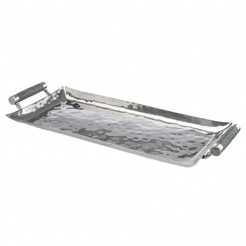 Rectangular Hammered Stainless Tray With Inlay 6 x 14