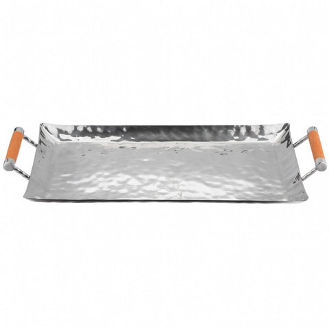 Rectangular Hammered Stainless Tray With Inlay  10X18