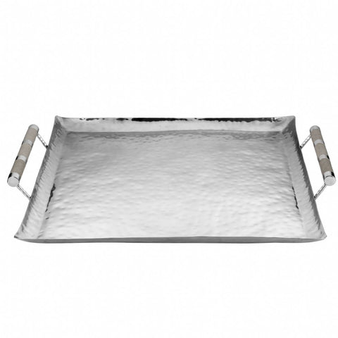 Square Hammered Stainless Tray With Inlay 24 x 24