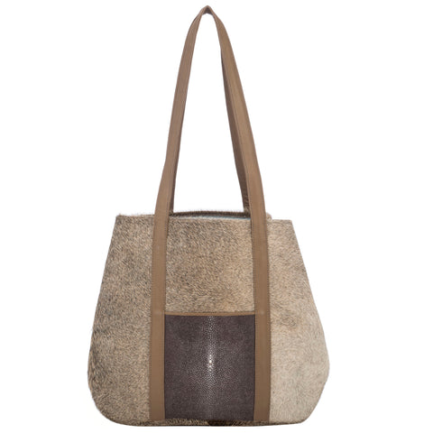 Baja II- Hair on Hide + Shagreen Tote