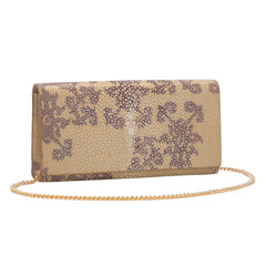 Deconstructed Print Shagreen Perfect Clutch with Chain - Sand & Coffee Main Image