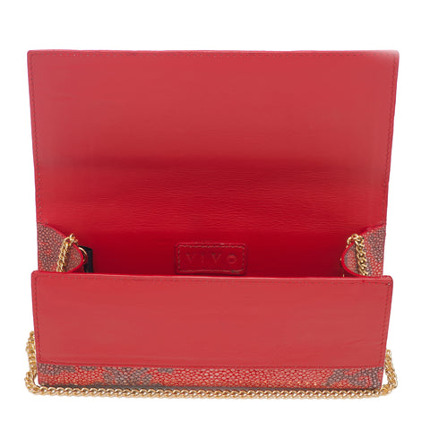 Deconstructed Print Shagreen Perfect Clutch with Chain - Poppy & Coffee
