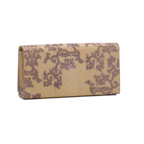 Deconstructed Print Shagreen Perfect Clutch with Chain - Sand & Coffee
