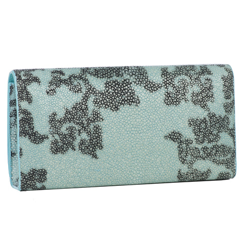 Deconstructed Print Shagreen Perfect Clutch with Chain - Sky & Gray