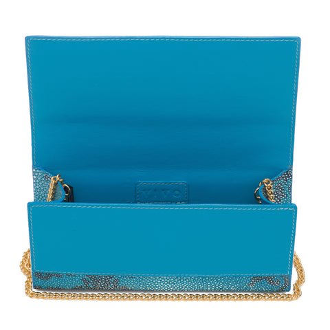 Deconstructed Print Shagreen Perfect Clutch with Chain - Water & Navy