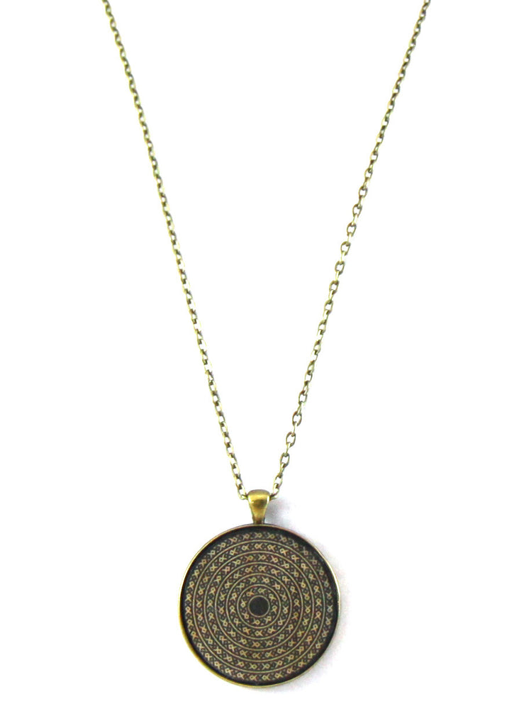 Black Tribal Print Necklace Pendant