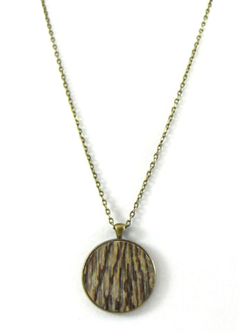Dark Wood Grain Pendant Necklace
