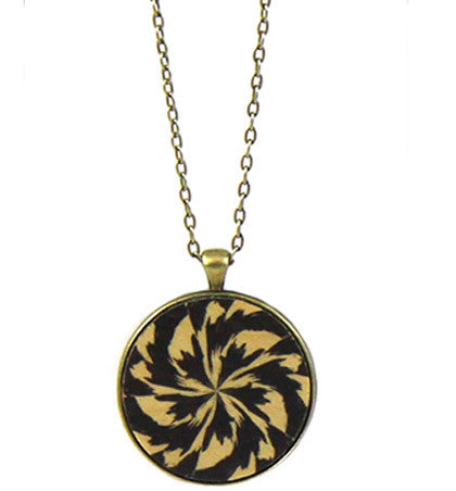 Floral Geometric Feathered  Pendant Necklace