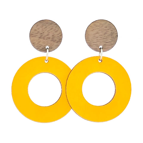 Round Donut Wood Drop Earrings