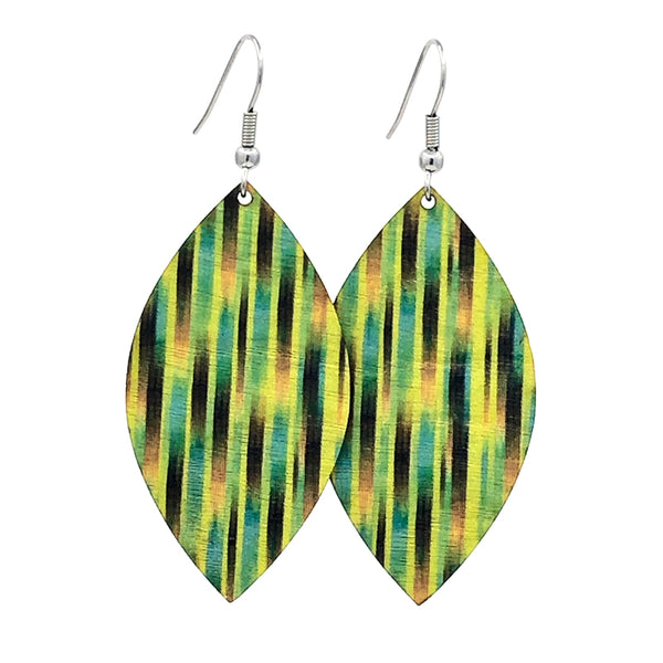 Green petal lightweight earrings from sustainable wood