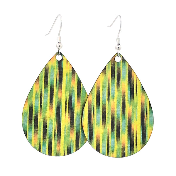 Green  teardrop lightweight earrings from sustainable wood