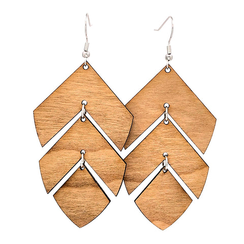 Layered Leaf Hinged Earrings
