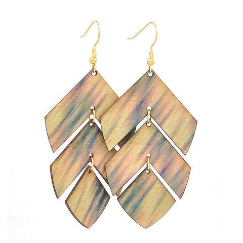 Layered Hinged Birch Wood Earrings