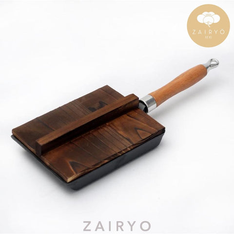 Cast Iron Traditional Tamagoyaki Pan w Wood Lid / 玉子焼き平鍋