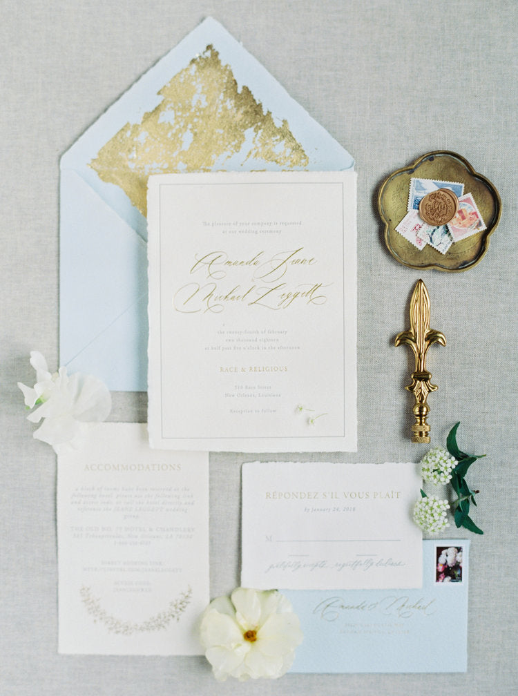 antique gold and blue wedding invitations