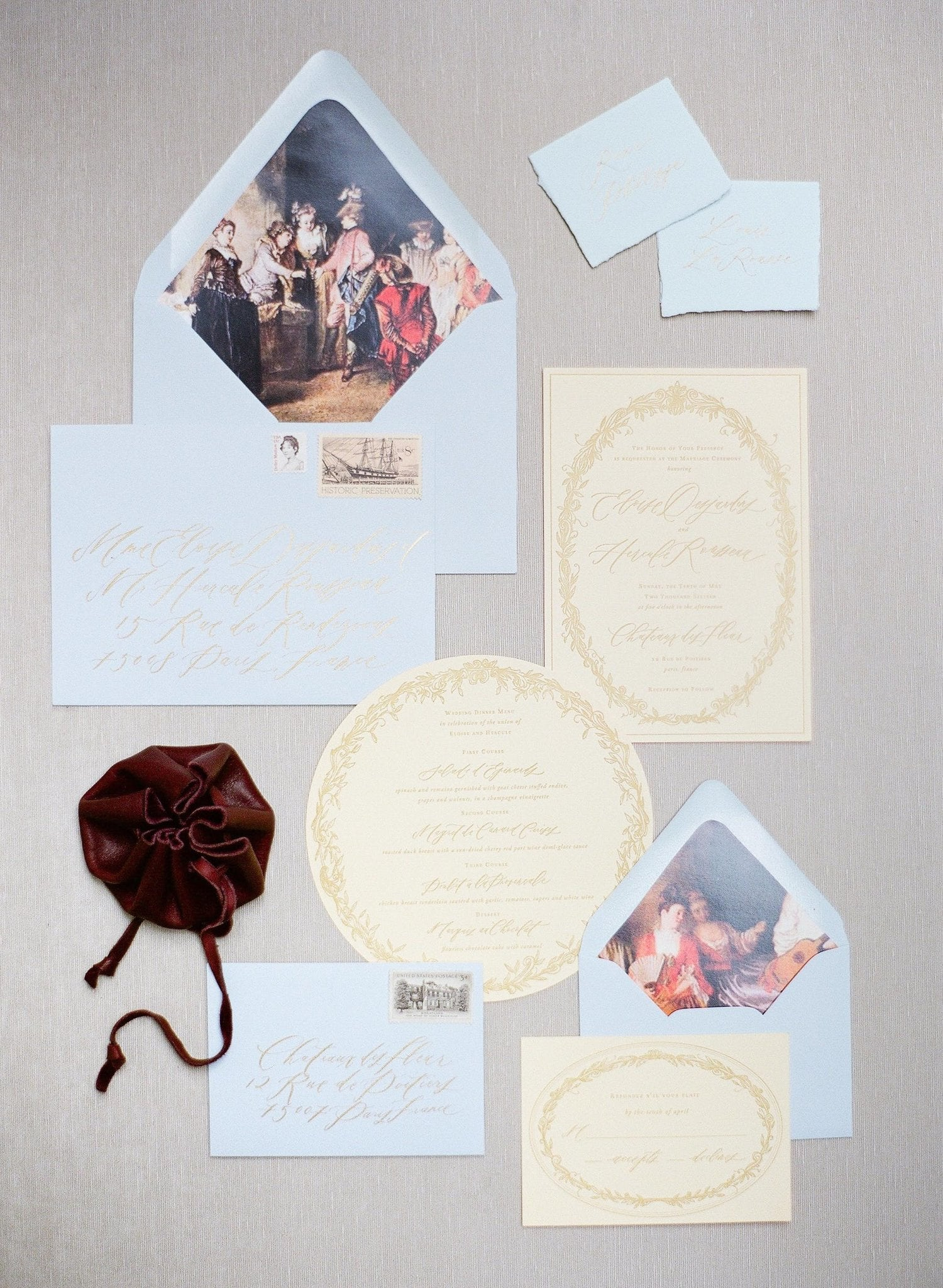 Butter Yellow and French Blue Wedding Invitations