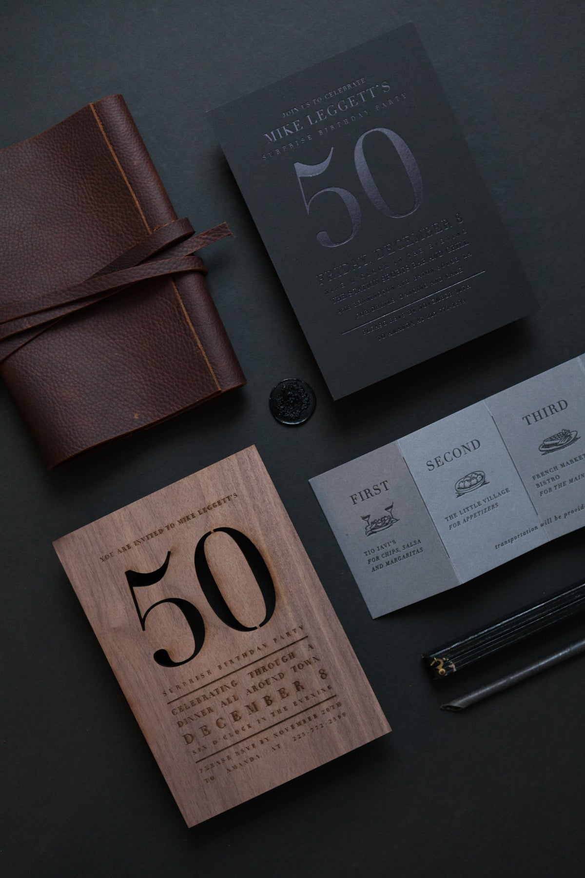 leather and wood birthday invitations
