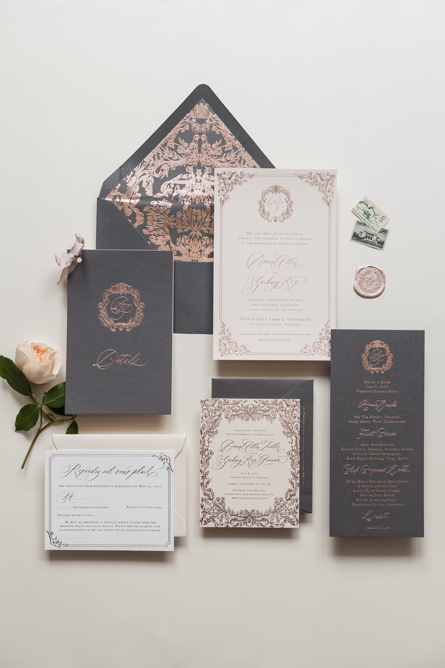 rose gold and grey wedding stationary