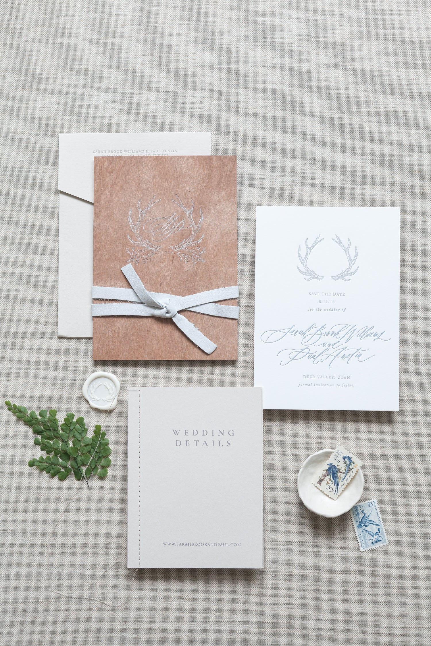 clean forest inspired wedding invitations