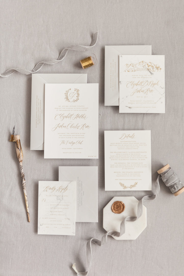 Gold Foil and Marble Wedding Invitations